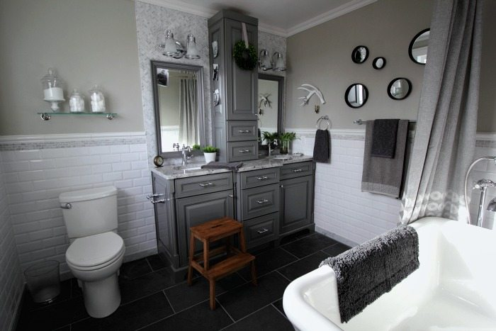 Before And After Grey And White Traditional Bathroom